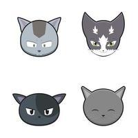 niedlicher Katzenkopf-Maskottchen-Zeichensatz vektor