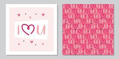 St. Valentinstag Urlaub Grußkarte Vorlage. Herz mit Schriftzug. Beziehung, Emotion, Leidenschaft, Liebe. nahtloses Muster, Textur, Papier, Verpackungsdesign. vektor