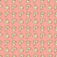 niedliche Vektor-Gekritzel-Hand gezeichnete nahtlose Muster, Textur, Hintergrund der Ostkaninchen. Osterhasen, Feiertagstiere springen. isoliert auf rosa Hintergrund. Kinderverpackungsdesign. vektor