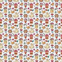 Nahtloses Muster, Textur, Hintergrund des Osterfeiertags. Kaninchen, Kuchen, Muffins, Kräuter, Eier, Nest, Blumen und Herzen. Kinderverpackungsdesign, Papier. vektor