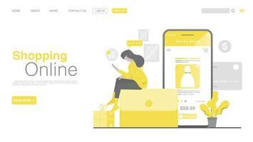 Online-Shopping und Online-Zahlung auf der Website oder in einer mobilen Anwendung. Online-Zahlungs-Landingpage im flachen Stil. vektor