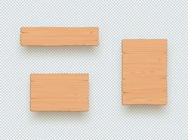 Holzschild einfache leere 3D-Brett-Elemente gesetzt vektor