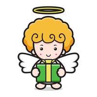 niedliche Engel-Zeichentrickfigur, die Boxgeschenk hält vektor