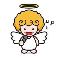 niedlicher Engel Zeichentrickfigur singt mit Mikrofon vektor