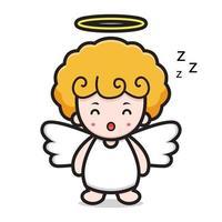 niedliche Engel-Zeichentrickfigur, die schläft vektor