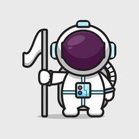 niedliche Astronautenfigur, die Flaggenkarikaturvektorikonenillustration hält vektor