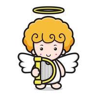 niedliche Engel-Zeichentrickfigur, die Harfe hält vektor