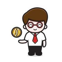 niedlicher Geschäftsmann mit Dollar-Münzcharakter-Karikaturvektorikonenillustration vektor