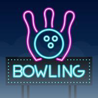Bowling Road Sing Stadt Zeichen Neon vektor