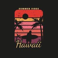 illustration av hawaii strandparadis för surfing vektor