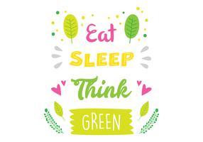Denken Sie grüne Typografie vektor