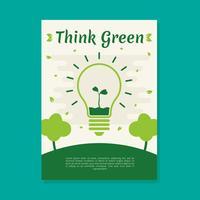 Denken Sie grüne Poster Vektor Vorlage