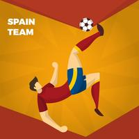 Flache spanische Fußball-Charakter-Vektor-Illustration