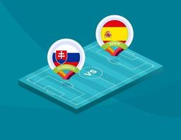 Slovakien vs Spanien isometrisk fält vektor
