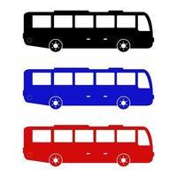 Satz Stadtbus auf weißem Hintergrund vektor