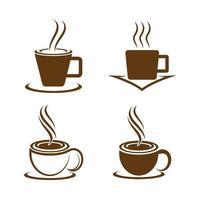 kaffekopp logotyp bilder set vektor