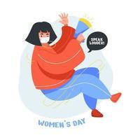 flache Illustration des schönen und niedlichen Mädchens in der Feier für den internationalen Frauentag vektor