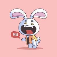 handritad söt påskillustration med kanin