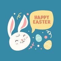 platt glad kanin i påskdag bakgrund vektor