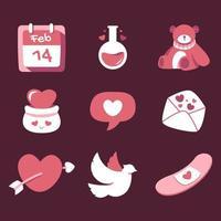 Alla hjärtans dag illustrationer för kort affisch eller klistermärken vektor