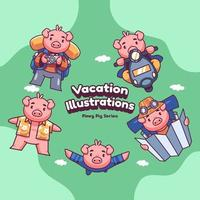niedliche Urlaubsferien rosa Schwein Vektor-Illustrationen vektor