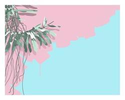 Vektor des stilvollen flachen Stils des Orchideenbaums. schöne süße Pastellfarbpalette. mit Platz für Texte. nostalgisches Gefühl ästhetisches Gefühl