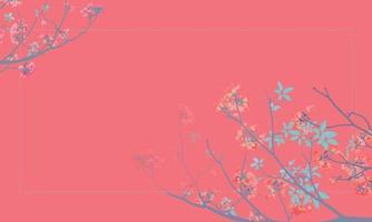 Zweig der rosigen Trompete, rosa Poui Tabebuia Rosea blüht. neotropischer Baum. Vektor isolierte Illustration auf rotem Hintergrund und Platz für Ihren Text