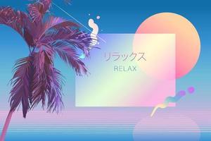 tropisk palm retro futuristisk söt lutning vektor