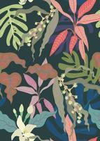 nahtloses Muster von exotischen Pflanzen, Vintage moderne Sättigungspastellfarbpalette, flacher minimaler Handzeichnungsvektor vektor