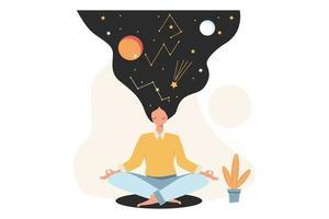 Konzept der Meditation während der Arbeitszeit, um Stress abzubauen vektor