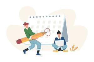 Füllen Sie die Kalendertabelle aus und markieren Sie wichtige Daten und Aufgaben vektor