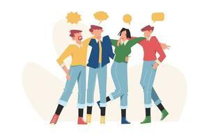 Glücklicher Freundschaftstag mit verschiedenen Freunden, um einen besonderen Ereignisvektor zu feiern vektor