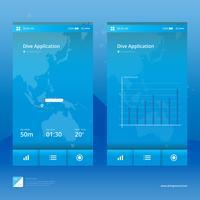 Scuba Diving Mobile Anwendungsillustration. vektor