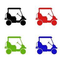 Golfwagen auf weißem Hintergrund eingestellt vektor