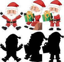 uppsättning jultomten seriefigur med silhuett vektor