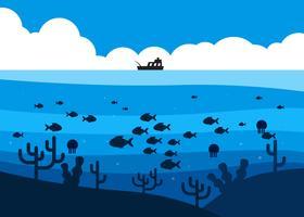 Fisk i djuphavet under fiskebåtillustrationen