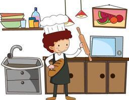 liten kock med köksutrustning på vit bakgrund vektor