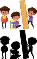 Satz eines Jungen, der verschiedene mathematische Werkzeuge mit Silhouette hält vektor