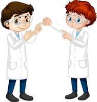 två unga forskare som pratar varandra vektor