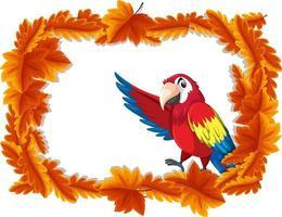 rote Blätter Fahnenschablone mit Papageienvogel-Zeichentrickfigur