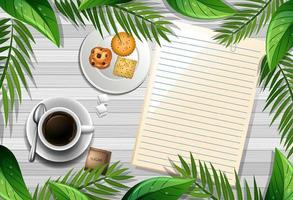 leere Notiz mit Kaffee und Keksen auf Hintergrund vektor