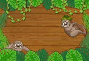 tomma tropiska löv ram banner med sloth seriefigur