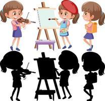 Satz einer Mädchenzeichentrickfigur, die verschiedene Aktivitäten mit seiner Silhouette tut vektor