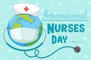 glückliche internationale Krankenschwestern-Tagesschrift mit der Erde, die Maske trägt vektor