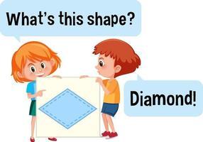 Kinder halten Diamantform Banner mit was ist diese Form Schriftart vektor