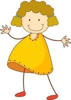niedliches Mädchen Zeichentrickfigur in der Hand gezeichnet Gekritzel-Stil isoliert vektor