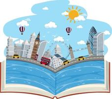 öppen bok med Londons scen vektor