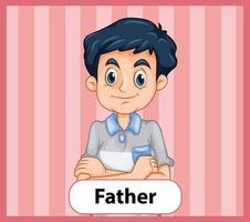 pädagogische englische Wortkarte des Vaters vektor