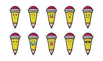 uppsättning söt penna maskot med olika uttryck tecknad vektor ikon illustration