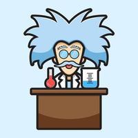 niedliche Wissenschaftlercharakter experimentieren chemische Karikaturvektorikonenillustration vektor